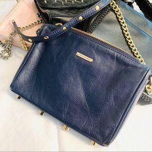 Rebecca Minkoff 3 Zip Moto Blue Leather Crossbody